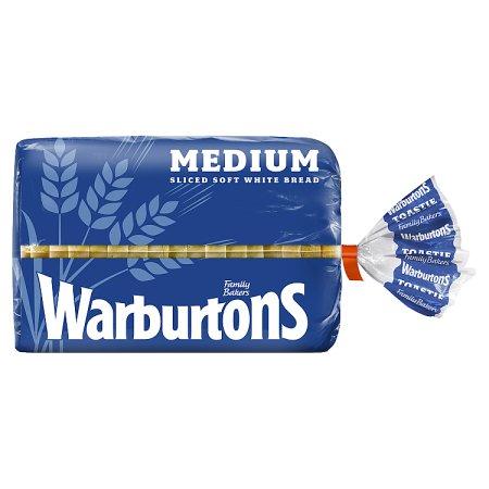 warburtons white medium bread 400g