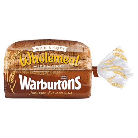 warburtons wholemeal medium bread 400g