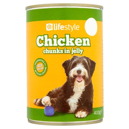 lifestyle dog food chicken chunks in jelly 55p 400g