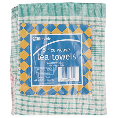 lifestyle rice weave tea towel 5s