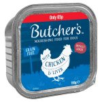 butchers chicken & liver alutray 65p 150g