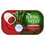 john west sardines in spicy tomato sauce 120g