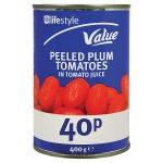 lifestyle value plum tomatoes 45p 400g