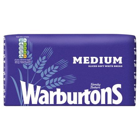 warburtons white medium bread 800g