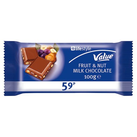 lifestyle value chocolate fruit & nut 59p 100g