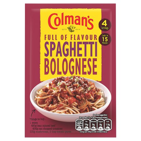 colmans spaghetti bolognese 45g