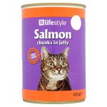 lifestyle cat food salmon chunks in jelly 55p 400g