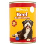 lifestyle dog food beef chunks in gravy 55p 400g