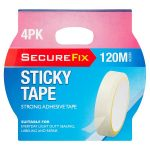 secure fix clear sticky tape 25m 4 pack