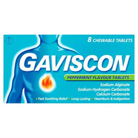 gaviscon peppermint tablets 8s