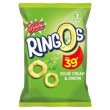 golden wonder ringos sour cream 39p 22g