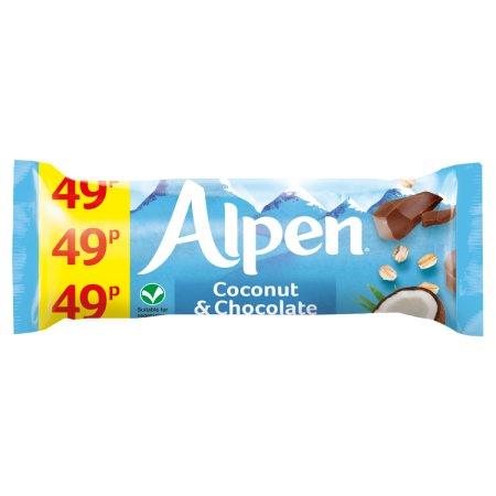 alpen coconut & chocolate bars 49p 29g