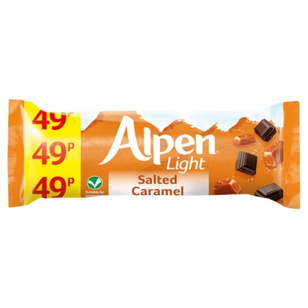 alpen light salted & caramel bars 49p 19g