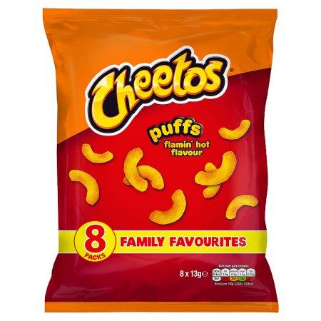 cheetos flamming hot puffs [8 pack] 8pk