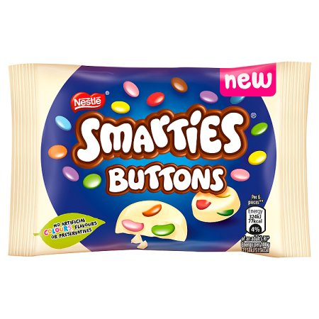 smarties buttons white single 30g